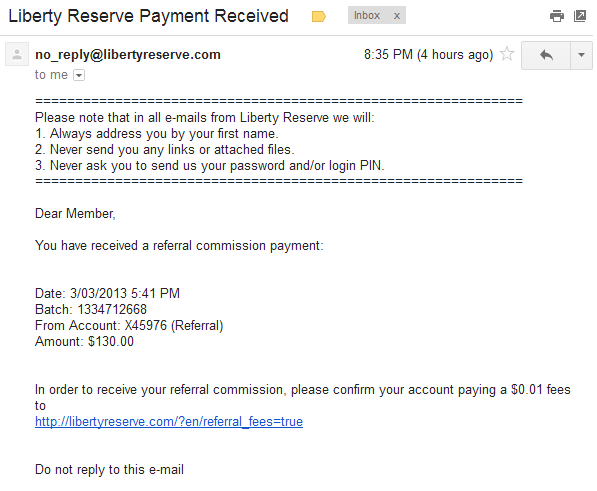 Liberty Reserve Scam Email