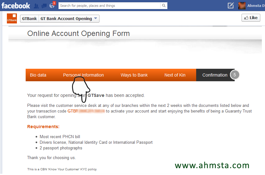GTBANK online account opening form pop up detail complete How To Open a GTBank Account Online