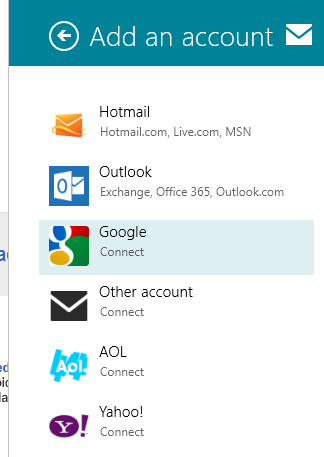Select account image 3 1 How to add Multiple Email Account in Windows 8.1 Mail App